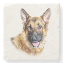Bronson the German Shepherd marble coaster