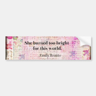 BRONTE QUOTE She burned too bright for this world Bumper Sticker