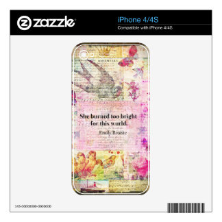 BRONTE QUOTE She burned too bright for this world Decals For iPhone 4S