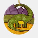 Brontosaurus Adorno Navideño Redondo De Cerámica