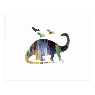Brontosaurus and bats postcard