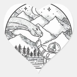 Brontosaurus Astronaut Mountain Circle Tattoo Heart Sticker