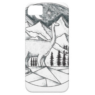Brontosaurus Astronaut Mountains Tattoo iPhone SE/5/5s Case