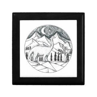Brontosaurus Astronaut Mountains Tattoo Jewelry Box
