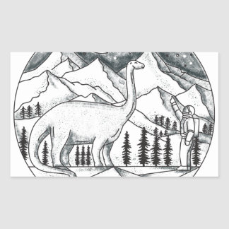 Brontosaurus Astronaut Mountains Tattoo Rectangular Sticker