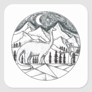 Brontosaurus Astronaut Mountains Tattoo Square Sticker