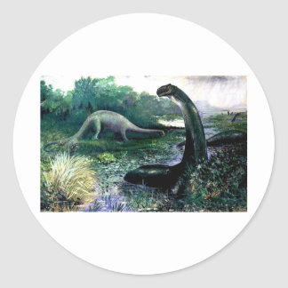 brontosaurus classic round sticker