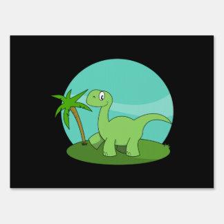 Brontosaurus del dibujo animado letreros