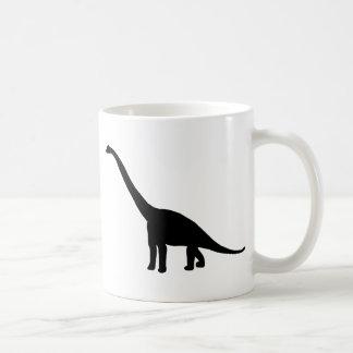 Brontosaurus del dinosaurio blanco y negro taza