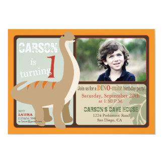 Brontosaurus Dinosaur First Birthday 5x7 Paper Invitation Card