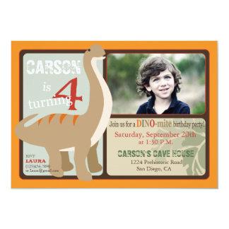 Brontosaurus Dinosaur Fourth Birthday 5x7 Paper Invitation Card