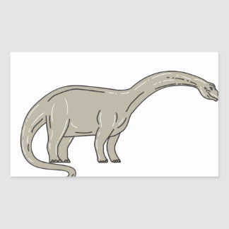 Brontosaurus Dinosaur Looking Down Mono Line Rectangular Sticker