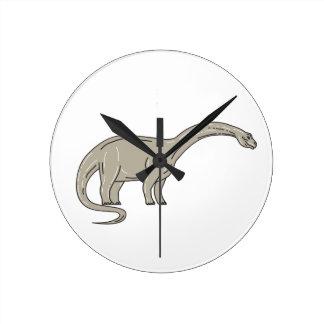 Brontosaurus Dinosaur Looking Down Mono Line Round Clock