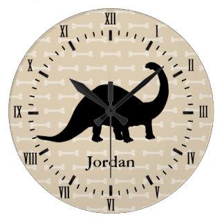 Brontosaurus Dinosaur White Bones Roman Numerals Large Clock