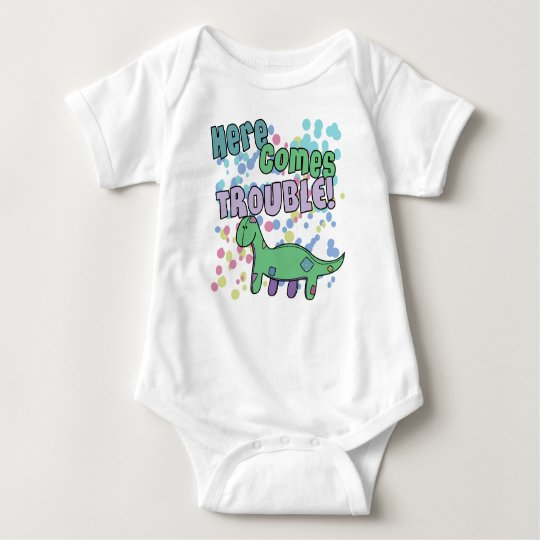 Brontosaurus Here Comes Trouble Apparel Baby Bodysuit