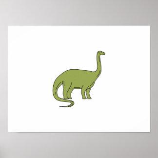Brontosaurus Mono Line Poster