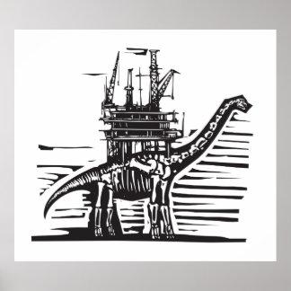 Brontosaurus Oil Rig Poster