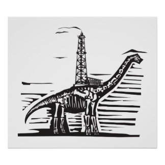 Brontosaurus Oil Well Drill Poster