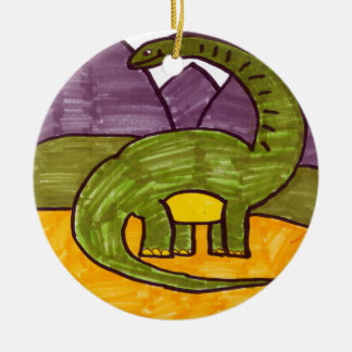 Brontosaurus Double-Sided Ceramic Round Christmas Ornament