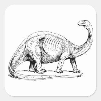 Brontosaurus Pegatina Cuadrada