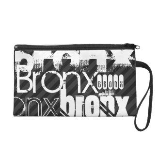Bronx; Black & Dark Gray Stripes Wristlet Purse