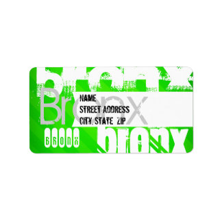 Bronx; Neon Green Stripes Address Label