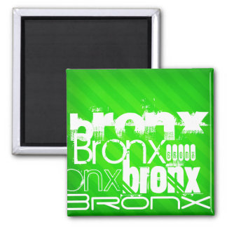 Bronx; Neon Green Stripes 2 Inch Square Magnet
