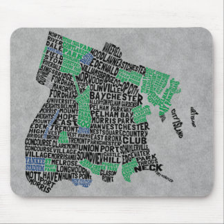 Bronx New York City Typography Map Mouse Pad
