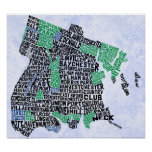 Bronx New York City Typography Map Poster