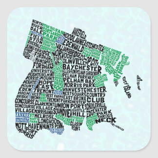 Bronx New York City Typography Map Square Sticker