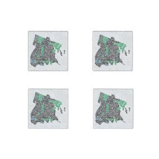 Bronx New York City Typography Map Stone Magnet