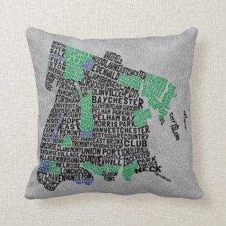 Bronx New York City Typography Map Throw Pillow