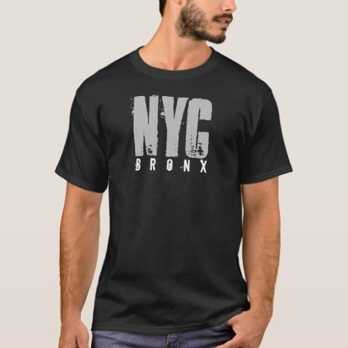 Bronx Nyc New York City Distressed Text Black T_Shirt