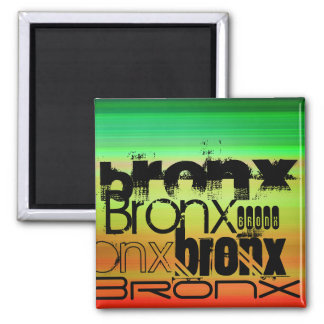 Bronx; Vibrant Green, Orange, & Yellow 2 Inch Square Magnet
