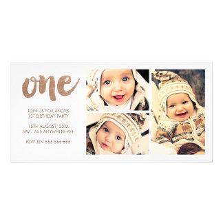 Bronze 1ST Birthday White 3 Frame Photocard Card