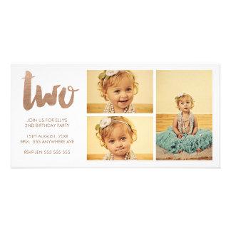 Bronze 2nd Birthday White 3 Frame Photocard Card