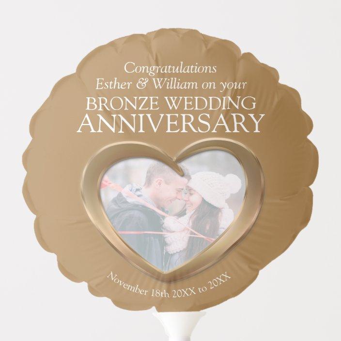 Bronze 8th Wedding Anniversary Custom Heart Photo Balloon Zazzle Com