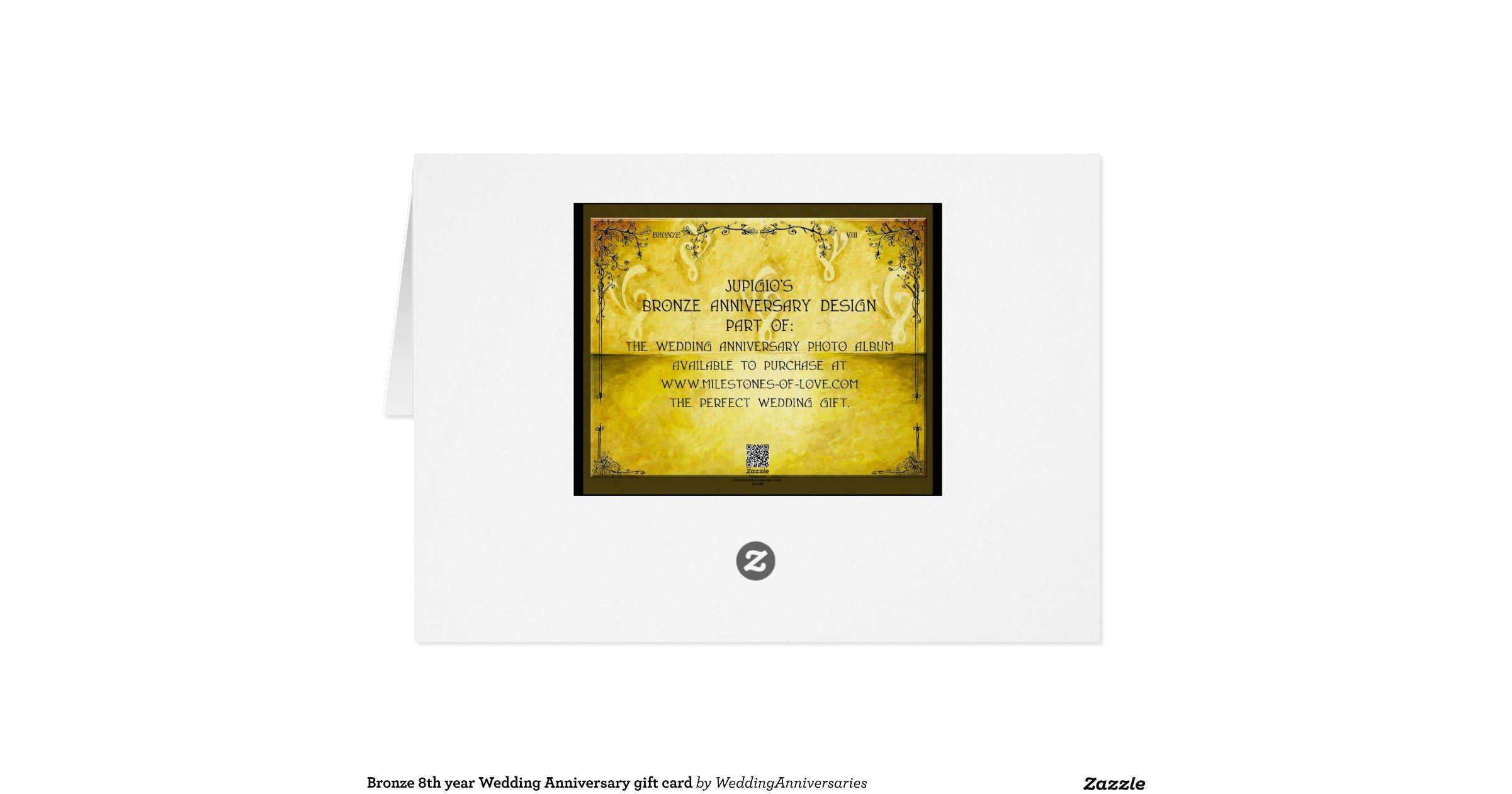 Bronze th year wedding anniversary gift card