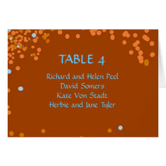 Bronze and blue confetti wedding seating chart card