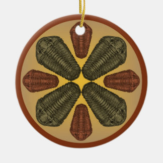 Bronze and Copper Calymene Niagarensis trilobites Christmas Tree Ornaments