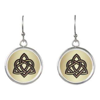 Bronze and Gold Celtic Trinity Heart Knot Earrings