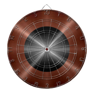 Bronze and Gray Stainless Steel Metal Dartboard