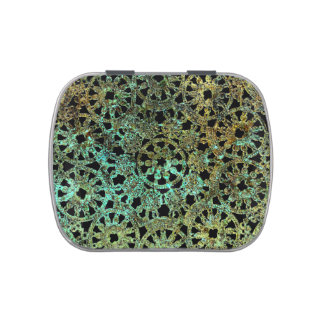 bronze and green abstract lace design jelly belly tin