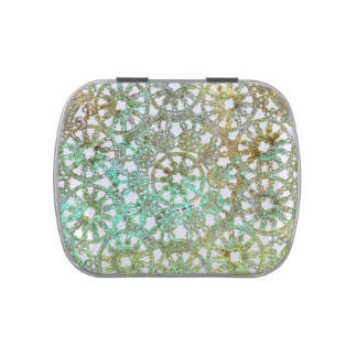bronze and green abstract lace design cutout jelly belly candy tins