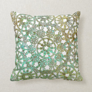 bronze and green abstract lace design cutout throw pillow