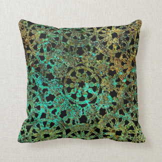 bronze and green abstract lace design throw pillow