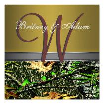 Bronze and Mossy Green Camo Wedding Invitations