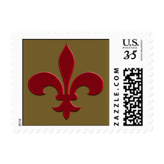 Bronze and Red Fleur de Lis Postage