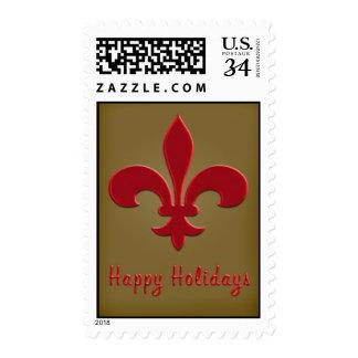 Bronze and Red Fleur de Lis Postage Stamp