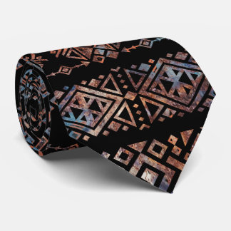 Bronze and Rust Vintage  Aztec Peruvian Tribal Pat Neck Tie